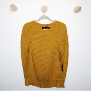 Cooper mustard yellow knit sweater cape